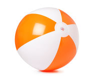 Colored inflatable beach ball on white. Background royalty free stock image