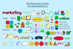 Colored Infographic Business Sketch Elements Collection Stock Images
