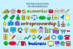 Colored Infographic Icons Collection. Colored infographic entrepreneurship icons collection of financial and economic elements in sketch style  vector Royalty Free Stock Image