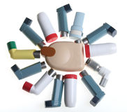 Colored Inhalers. Some colored Inhalers (sun form Stock Photo