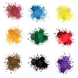 Vector set of colorful ink splashes, ink blots. Splatter collection. Colored ink or paint paint splashes . Paint splash or splat, splattered ink, dirty blots Stock Illustration