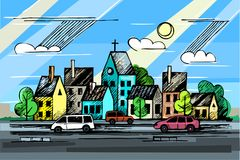 Colored ink urban sketch. Church. Cars. Clouds.Vector hand drawn colore ink urban sketch. Cityscape in outline style. Postcards design Stock Image
