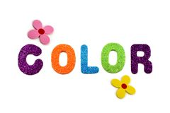 Colored inscription Color stock images. Colorful lettering on a white background. Decorative multi-colored inscription royalty free stock images