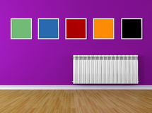 Colored interio with frame and radiator Stock Photography