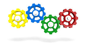 Colored interlocking gears. Series of interlocking, colored gears or cogwheels royalty free illustration