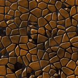 Colored irregular stony mosaic pattern texture seamless background with dark grout - bronze brown colored. Colored abstract irregular stony mosaic pattern stock photo
