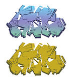 Colored isolated abstract graffiti set 2. Isolated abstract extruded graffiti on a white background in two colors variation Royalty Free Illustration