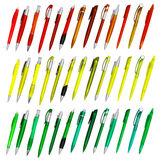 Colored isolated ballpoint pens. Group of colored isolated ballpoint pens Royalty Free Stock Photos