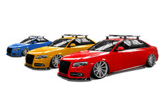 Colored isolated modern cars Royalty Free Stock Photo