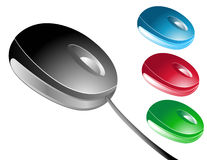 Colored Isolated Mouses. Choose from 4 different colored mouses (black, blue, red, and green) One of the mouses has a cord and the others are wireless Stock Photos