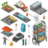Isometric Car Parking Icon Set Royalty Free Stock Photography