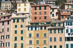 Colored italian facades Stock Photos