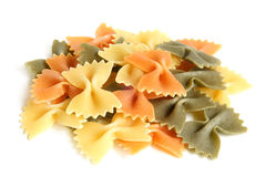 Colored Italian pasta (Farfalle) Stock Images