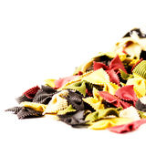 Colored Italian Pasta  isolated on white background close up.  F Stock Photos