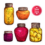 Colored Jam Jars Royalty Free Stock Photos