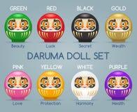 Colored japan daruma monk dolls Stock Photography