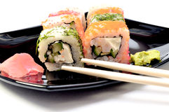 Colored Japanese rolls Stock Images