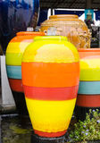 Colored Jar fountain for garden decorate Royalty Free Stock Images
