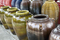 Colored jars. Of baan tawai Royalty Free Stock Images