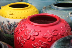 Colored jars Stock Photography