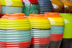 Colored jars Vintage Stock Photography