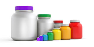 Colored jars with white lids - rainbow Royalty Free Stock Photos