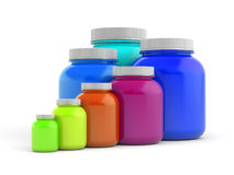 Colored jars with white lids - rainbow Royalty Free Stock Images