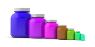 Colored jars with white lids - rainbow Royalty Free Stock Photo