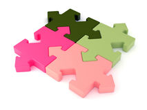 Colored jigsaw puzzle. 3d. 3d colored jigsaw puzzle with arrow joint. Rendered image Stock Photos