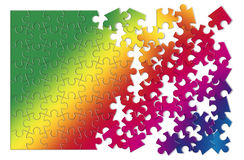Colored jigsaw puzzle - concept image on white background.  Stock Photo