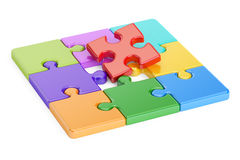 Colored jigsaw puzzle, 3D. Rendering Royalty Free Stock Photos