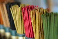 Colored joss sticks Stock Images