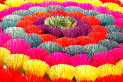Colored joss sticks in Vietnam royalty free stock images