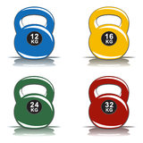 Colored kettlebells of various weights on white background Stock Photos