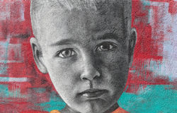 Colored kid graffiti on wall Royalty Free Stock Images