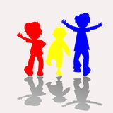 Colored kids silhouettes Royalty Free Stock Images