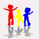 Colored kids silhouettes 2 Stock Photo