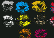 Colored kiss stamps Stock Images