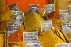 Colored kitchen spices powder Royalty Free Stock Image
