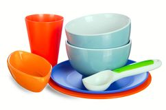 Colored kitchenware Stock Photography