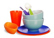 Colored kitchenware Stock Images