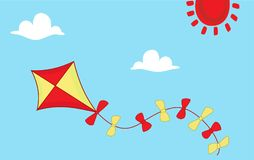 Colored kite flies on background of blue sky. Concept of freedom, ease of life, holiday, vacation time. Idyllic cartoon picture of warm summer day. Vector Stock Photos