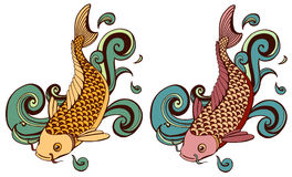 Colored koi fish. Colored variations of koi illustration Stock Image