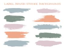Colored label brush stroke backgrounds. Paint or ink smudges vector for tags and stamps design. Painted label backgrounds patch. Interior paint color palette stock illustration