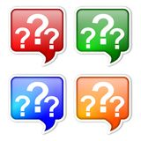 Colored labels with question marks Royalty Free Stock Photography