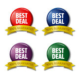 Colored labels with words `Best Deal`, discount tags. Set of four colored labels - discount tags. With words `Best Deal` on circle and `100% guarantee` on gold stock illustration