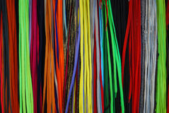 The colored laces. The colored shoe laces selling on a city street market Stock Images
