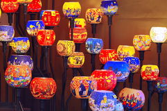 Colored lamps lit Stock Photos