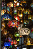 Colored lamps hanging at the Grand Bazaar in Stock Photography