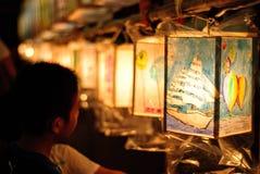 Colored lanterns exhibits. Lantern festival at Yokohama, Japan Royalty Free Stock Images